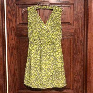 Romeo & Juliet gray green printed wrap front dress